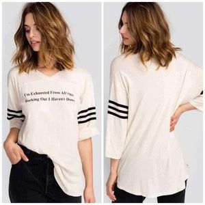 NWT Wildfox Never Work Out V Neck Tee